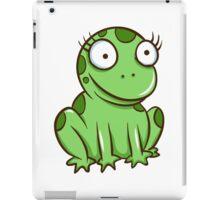 Funny green cartoon frog iPad Case/Skin