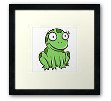 Funny green cartoon frog Framed Print