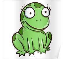 Funny green cartoon frog Poster