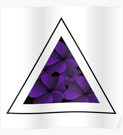 purple flowers in triangle Poster