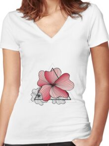 pink flowers in triangle Women's Fitted V-Neck T-Shirt