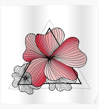 pink flowers in triangle Poster