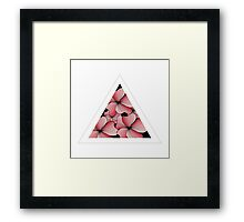 pink flowers in triangle Framed Print