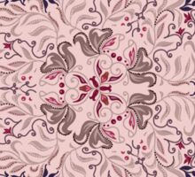 Floral elements silhouettes. Circular pattern of traditional motifs and vintage oriental ornaments Sticker
