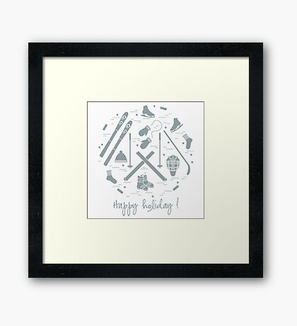 Vector illustration of different elements of sports equipment and clothing for winter sports arranged in a circl.  Framed Print