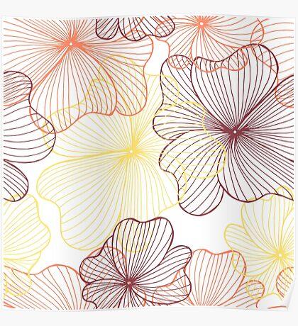 orange flowers print Poster