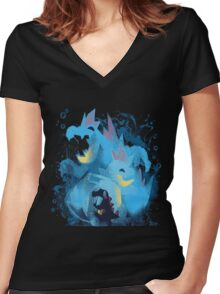 totodile, croconaw and feraligart evolutions cool design Women's Fitted V-Neck T-Shirt
