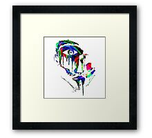 WATERCOLOR DRIPPING FACE Framed Print