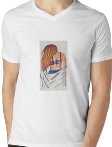 Girl back long hair colored pencil original  Mens V-Neck T-Shirt