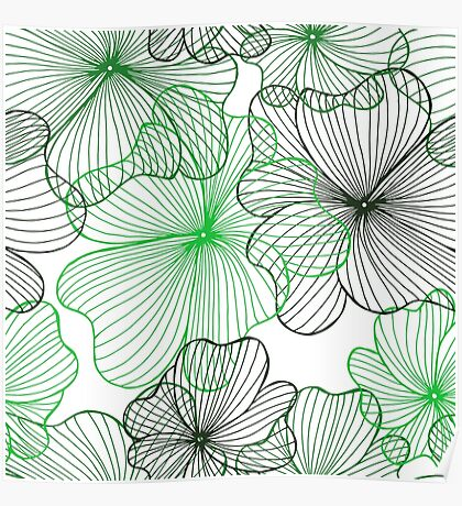 green flowers pattern Poster