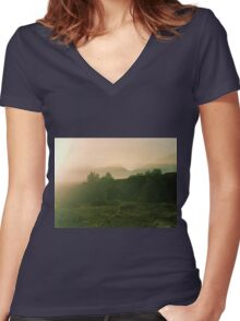 Trees and mountains Women's Fitted V-Neck T-Shirt
