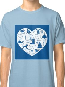 Vector illustration kids elements arranged in a heart: bird, whale, pacifier, bubbles, pyramid, beanbag, rabbit, duck and other. Classic T-Shirt