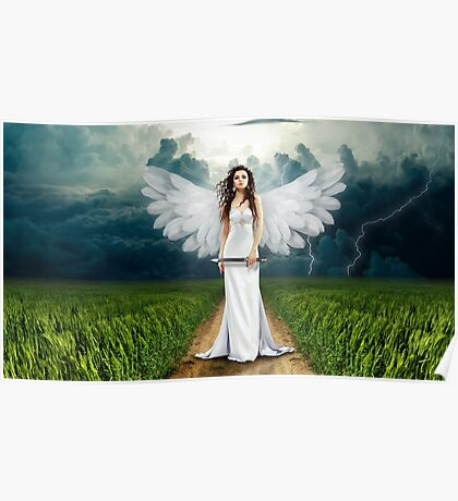 Sexy angel with knife in grass landscape Poster
