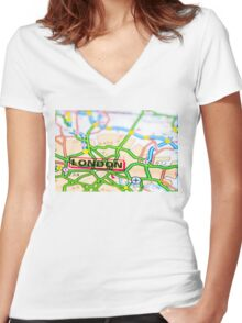 Close-up on London city on map, travel destination concept Women's Fitted V-Neck T-Shirt