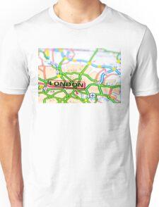 Close-up on London city on map, travel destination concept Unisex T-Shirt