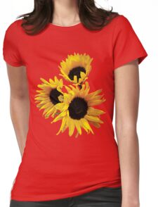 Three Yellow Sunflowers Funny Gardening Shirts Womens Fitted T-Shirt