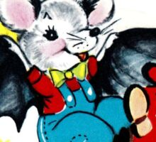 Vintage Cute Bat Valentines Day Card Sticker
