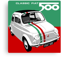 Classic Fiat 500 Italian flag Canvas Print