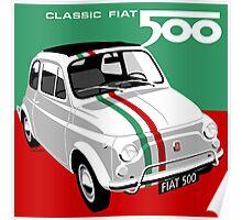 Classic Fiat 500 Italian flag Poster