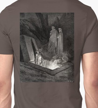 The Divine Comedy, Gustave Doré, Dante, Woodcut illustration, The Inferno, Canto 10. Unisex T-Shirt