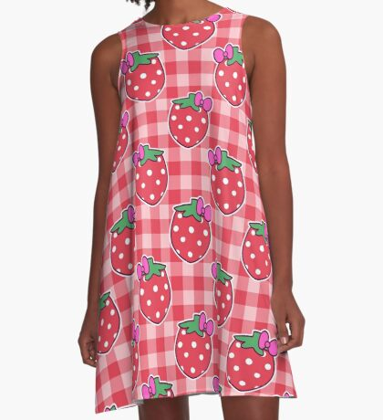 Bow Strawberry Gingham Pattern A-Line Dress
