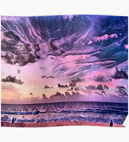 Hawaii Gorgeous Pacific Ocean Sunset Poster
