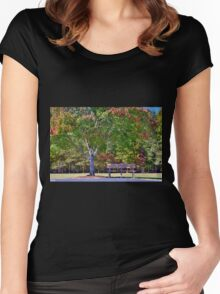 Ninety Six National Historic Site Bench In Autumn  Women's Fitted Scoop T-Shirt