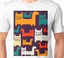 Colorful Pattern With Cute Drawn Cats Unisex T-Shirt