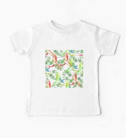 Watercolor Tropical background. Parrots,  palms. Baby Tee