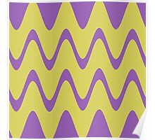 Yellow Purple Abstract Waves Poster