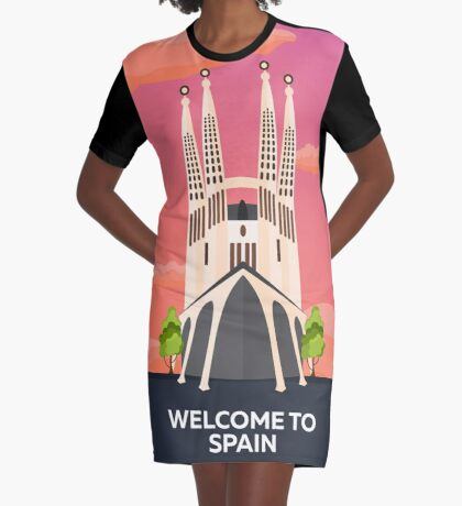 Spain. Sagrada familia Graphic T-Shirt Dress