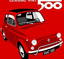 Classic Fiat 500L red by car2oonz