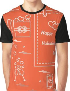 Cute vector illustration: calendar with Valentine's Day, gifts, postal envelope, two stemware, smartphone, birds with hearts. Graphic T-Shirt