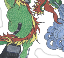 new raging dragon and guitar Sticker