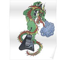 new raging dragon and guitar Poster
