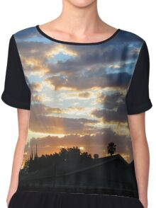 Sunset over the houses Chiffon Top