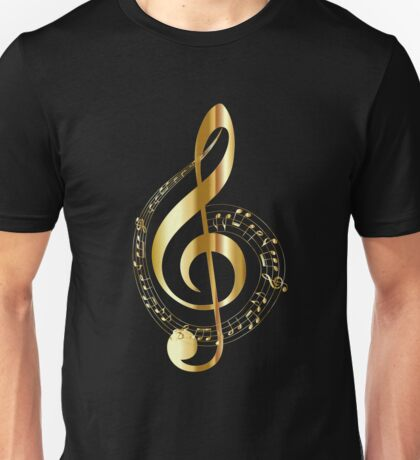 Gold treble clef and music score Unisex T-Shirt