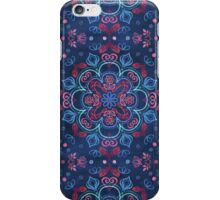 Cherry Red & Navy Blue Watercolor Floral Pattern iPhone Case/Skin
