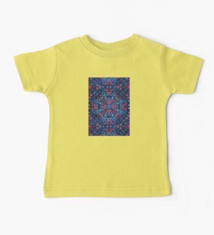 Cherry Red & Navy Blue Watercolor Floral Pattern Baby Tee
