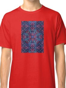 Cherry Red & Navy Blue Watercolor Floral Pattern Classic T-Shirt