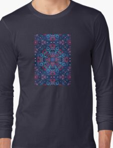 Cherry Red & Navy Blue Watercolor Floral Pattern Long Sleeve T-Shirt