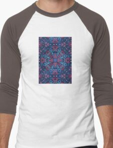 Cherry Red & Navy Blue Watercolor Floral Pattern Men's Baseball ¾ T-Shirt