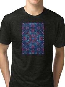 Cherry Red & Navy Blue Watercolor Floral Pattern Tri-blend T-Shirt