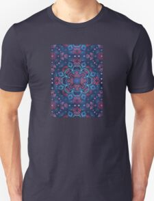 Cherry Red & Navy Blue Watercolor Floral Pattern T-Shirt