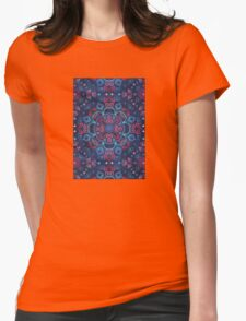 Cherry Red & Navy Blue Watercolor Floral Pattern Womens Fitted T-Shirt