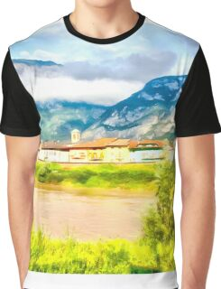 Village landscape with mountain river Graphic T-Shirt