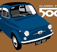 Classic Fiat 500 blue by car2oonz
