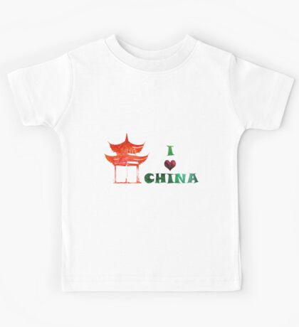 Watercolor  Asian background.  Welcome to China. Kids Tee