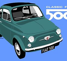 Classic Fiat 500 green by car2oonz