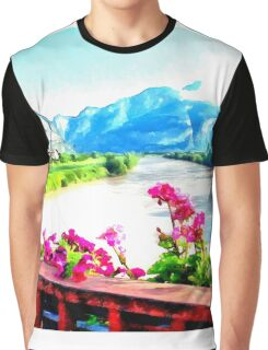 Landscape with flowers mountain river Graphic T-Shirt